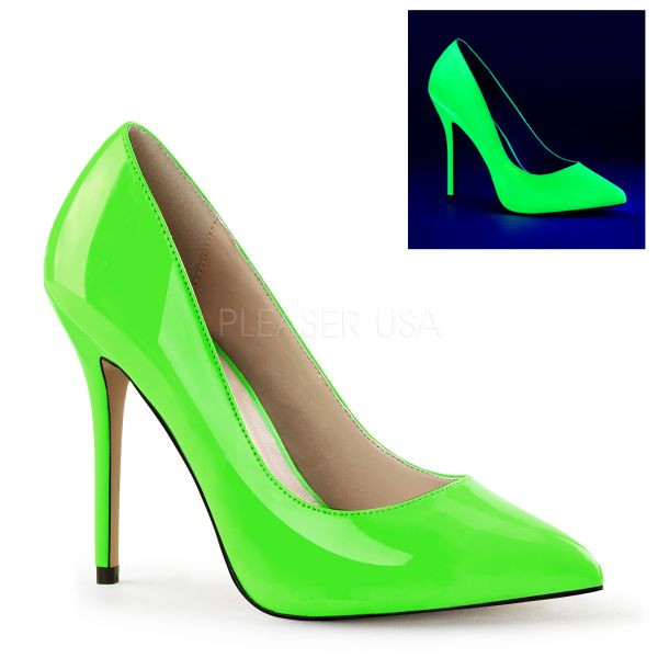 Klassische High-Heel Pumps in neon grün Lack AMUSE-20